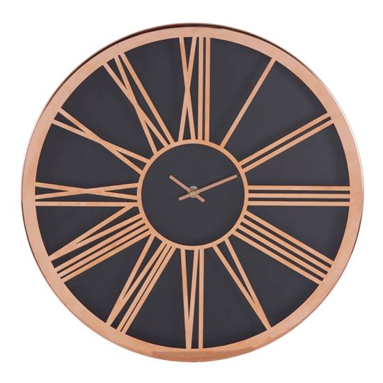Breiley Minimal Design Wall Clock In Black And Rose Gold