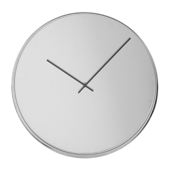 Breiley Minimal Mirrored Wall Clock In Chrome