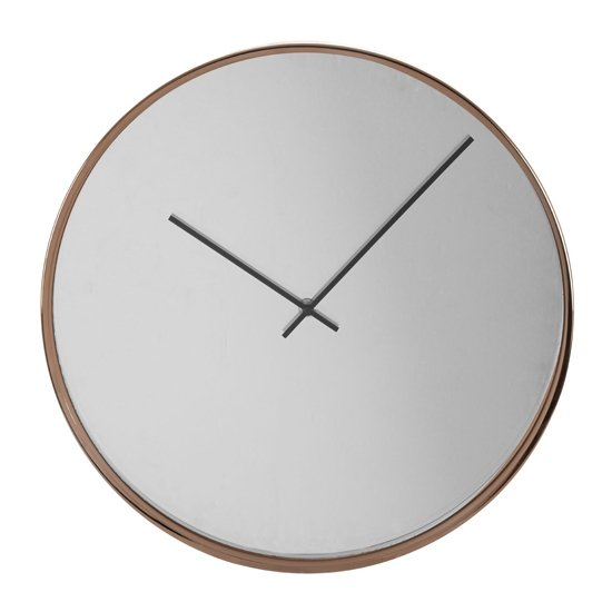 Breiley Minimal Mirrored Wall Clock In Gold