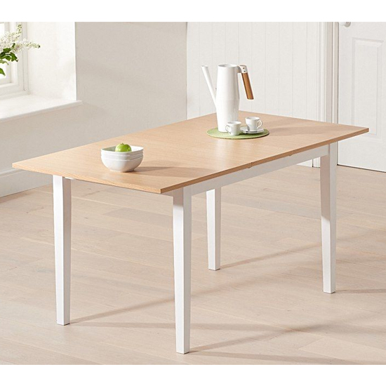 Bremen Extending Wooden Dining Table In Oak And White