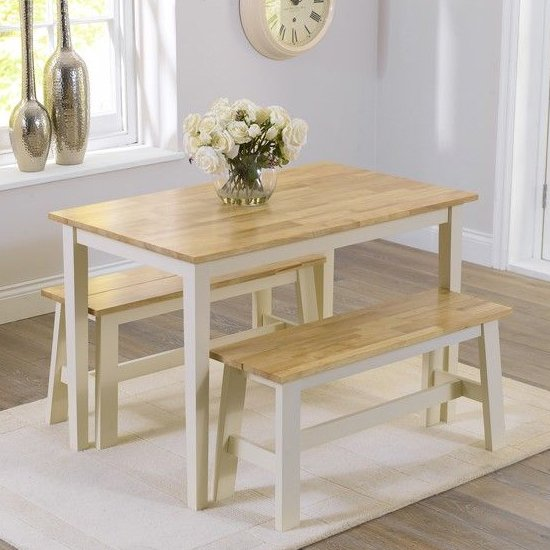 Bremen Oak And Cream Dining Set With 2 Benches