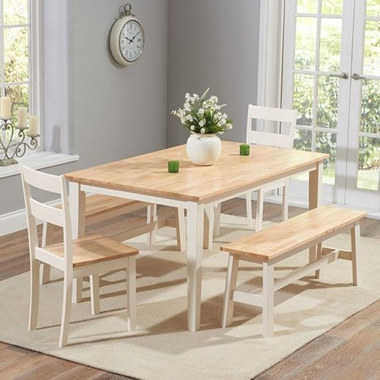 Bremen Oak And Cream Dining Set With 2 Chairs And 2 Large Bench
