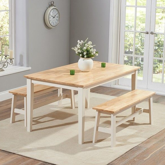 Bremen Oak And Cream Dining Set With 2 Large Benches