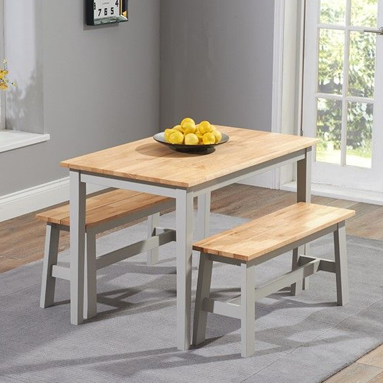 Bremen Oak And Grey Dining Set With 2 Benches