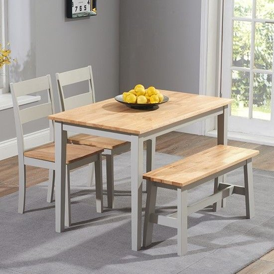 Bremen Oak And Grey Dining Set With 2 Chairs And 1 Bench