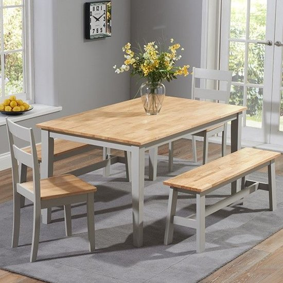Bremen Oak And Grey Dining Set With 4 Chairs And 1 Large Bench