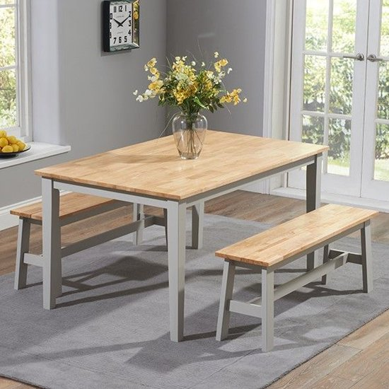Broman Oak And Grey Dining Set With 2 Large Benches