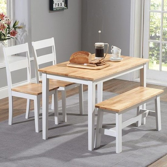 Bremen Oak And White Dining Set With 2 Chairs And 1 Bench