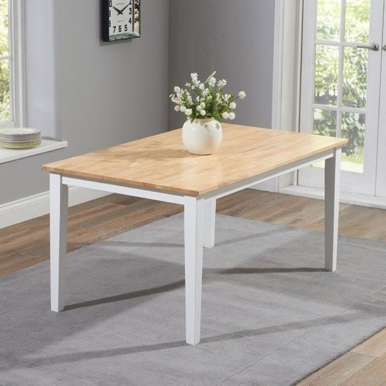 Bremen Oak And White Dining Set With 4 Chairs And 1 Large Bench_2