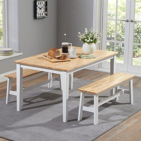 Bremen Oak And White Dining Set With 2 Large Benches