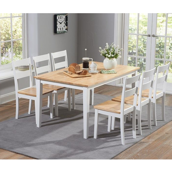 Bremen Oak And White Dining Set With 4 Dining Chairs