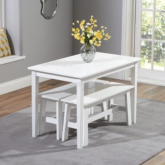 Bremen White Dining Set With 2 Benches_2