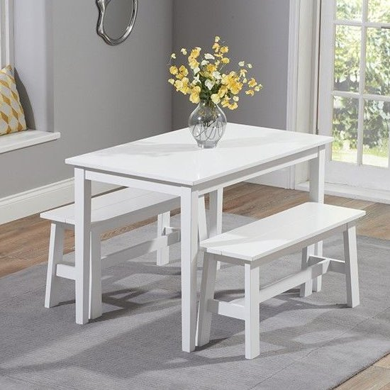 Bremen White Dining Set With 2 Benches_1