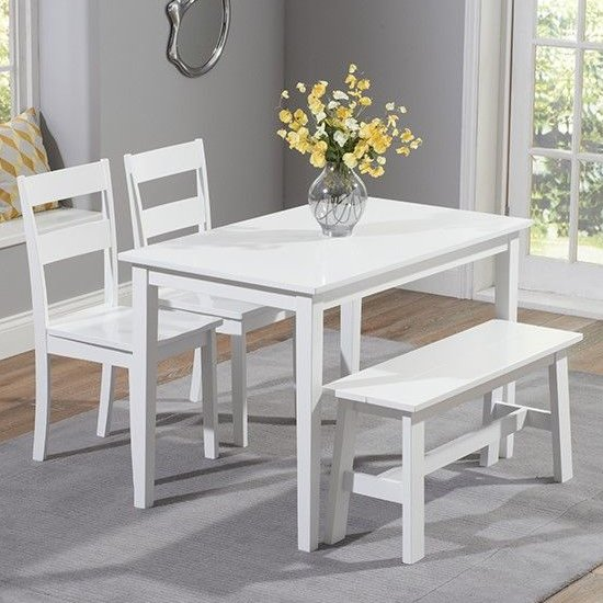 Bremen White Dining Set With 2 Chairs And 1 Bench