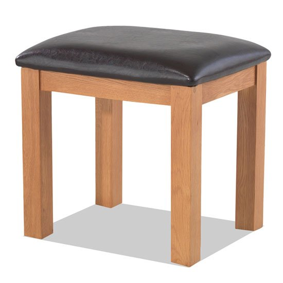 Brendan Wooden Dressing Table Stool In Crafted Solid Oak
