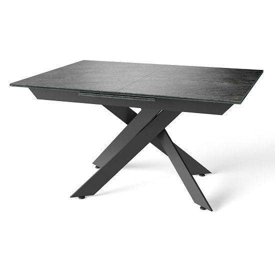 Brenden Extending Dining Table In Grey With Powder Coated Legs