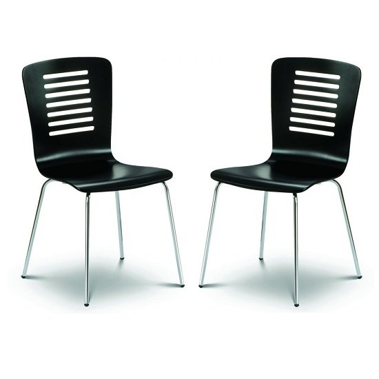 Brent Dining Chair In Black Lacquered With Chrome Legs In Pair
