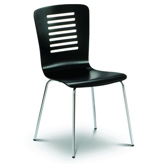 Brent Dining Chair In Black Lacquered With Chrome Legs_1