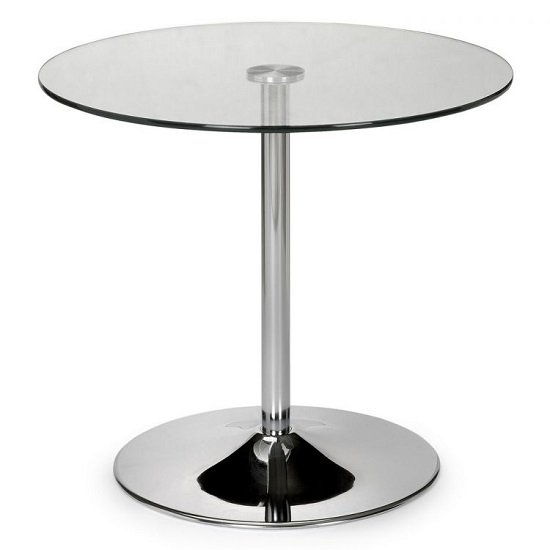 Brent Round Clear Glass Dining Table With Chrome Base