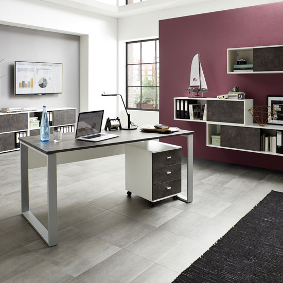 Brenta Sliding Shelving Unit In White And Basalto Dark_4