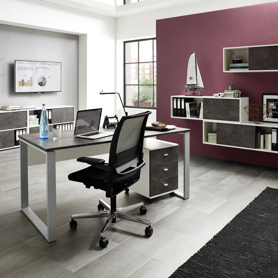 Brenta Sliding Shelving Unit In White And Basalto Dark_5