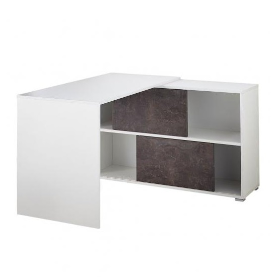 Brenta Corner Computer Desk In White And Basalto Dark_1