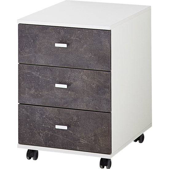 Brenta Office Cabinet In White And Basalto Dark With 3 Drawers