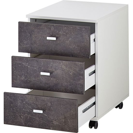 Brenta Office Cabinet In White And Basalto Dark With 3 Drawers_2