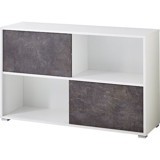 Brenta Sliding Shelving Unit In White And Basalto Dark_2