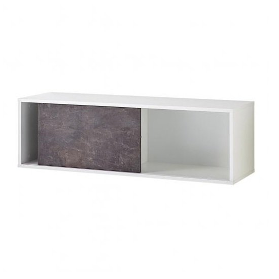 Brenta Wall Mounted Display Shelf In White And Basalto Dark