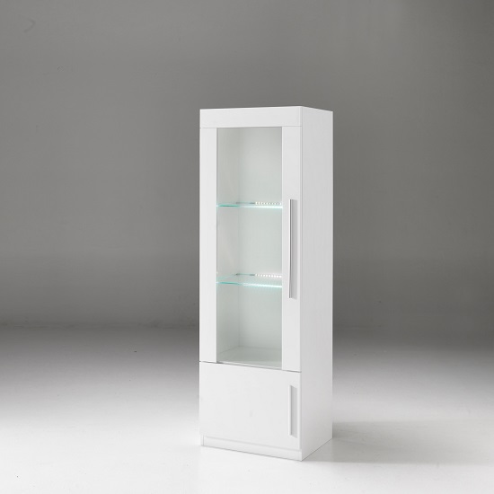 Breta Display Cabinet In White High Gloss And LED Lighting