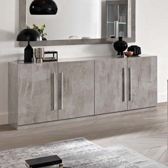 Breta Sideboard Large In Grey Marble Effect High Gloss