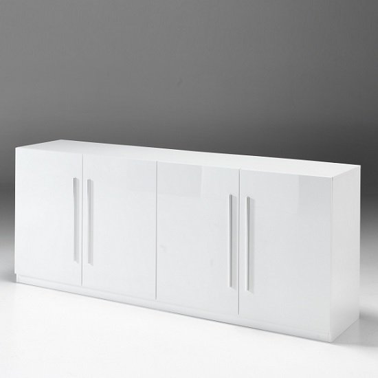 Breta Sideboard Large In White High Gloss With 4 Doors