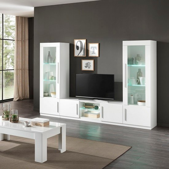 Breta TV Stand In White High Gloss With 2 Doors And LED_4