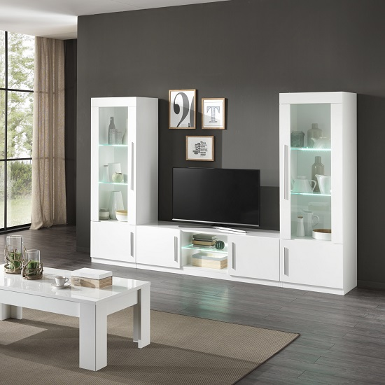 Breta Living Room Set In White High Gloss With Led Lighting