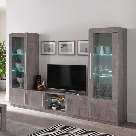 Breta Living Room Set In Grey Marble Effect With High Gloss LED