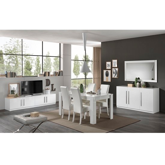 Breta Modern Sideboard In White High Gloss With 3 Doors_3