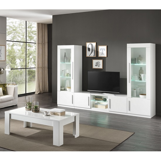 Breta TV Stand In White High Gloss With 2 Doors And LED_3