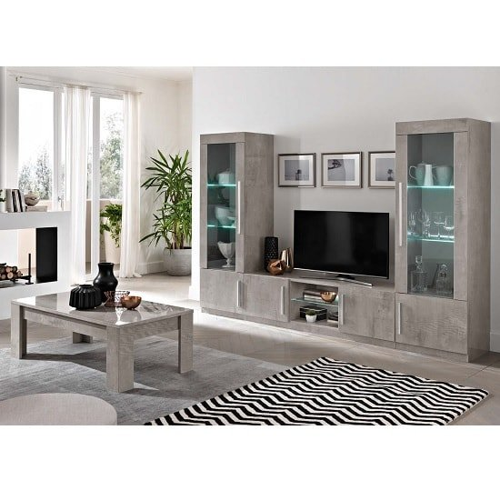 Breta TV Stand Grey Marble Effect With High Gloss And LED_2