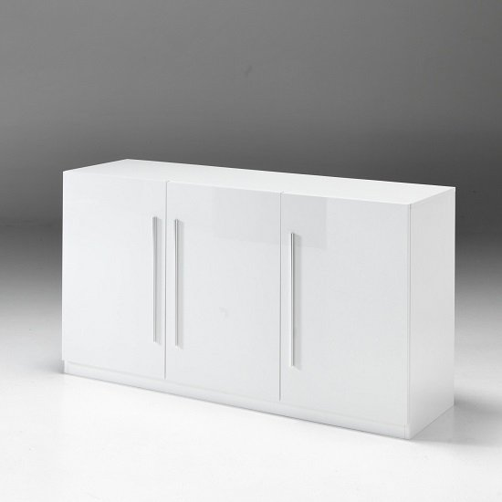 Breta Modern Sideboard In White High Gloss With 3 Doors
