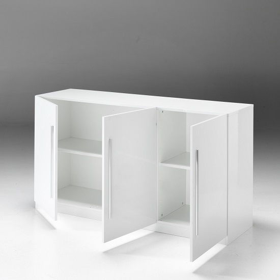 Breta Modern Sideboard In White High Gloss With 3 Doors_2