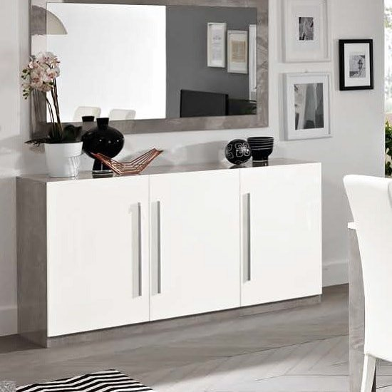 Breta Sideboard In White High Gloss With Grey Marble Effect