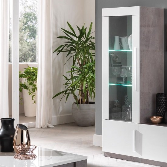 Breta Display Cabinet In Grey Marble Effect White Gloss And LED_1