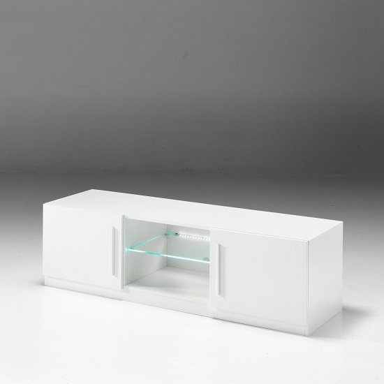 Breta TV Stand In White High Gloss With 2 Doors And LED