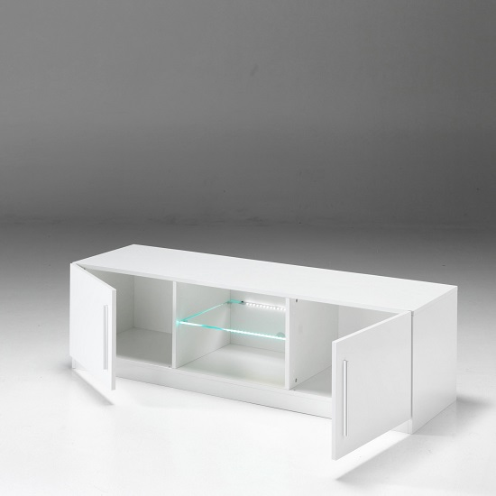 Breta TV Stand In White High Gloss With 2 Doors And LED_2