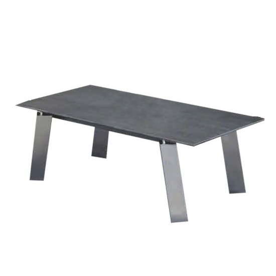 Breton Glass Coffee Table In Grey Ceramic Brushed Steel Legs