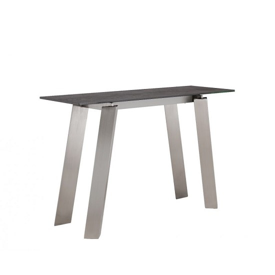 Breton Glass Console Table In Grey Ceramic Brushed Steel Legs