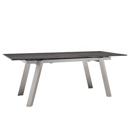 Breton Glass Extendable Dining Table In Grey Ceramic