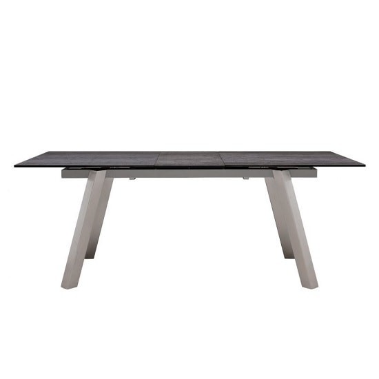 Breton Glass Extendable Dining Table In Grey Ceramic_2
