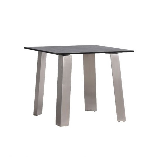 Breton Glass Side Table In Grey Ceramic Brushed Steel Legs